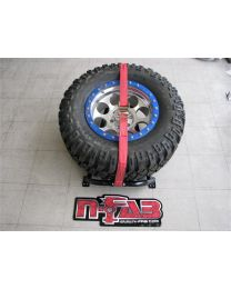 N-FAB - Bed Mounted Tire Carrier; Textured Black; Red Strap; - BM1TCRD-TX