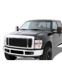 N-FAB - N-fab Wire Mesh Grille; Black Stainless Steel W/chrome Studs In Outer Ring; - F08MG3