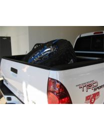 N-FAB - Bed Mounted Tire Carrier; Textured Black; Blue Strap; - BM1TCBL-TX