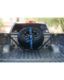 N-FAB - Spare Tire Carrier; Black Powder Coated; Sliding Channel Mounted; W/strap; - T051TR