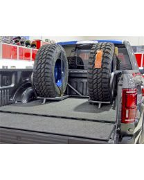 N-FAB - Bed Mounted Tire Carrier; Textured Black; Holds Up To 2 Tires; Incl. 2 Tire Straps; - F1825CCBC-TX