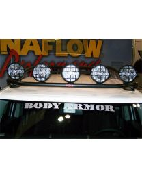 N-FAB - Roof Mounted Light Bar; Black Powder Coated; Front; Holds Up To Four 9 In. Lights; - TFJ5FLR