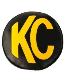 "KC Hilites - KC 8"" Vinyl Cover - Black with Yellow KC Logo (pr) - KC #5802 - 5802"