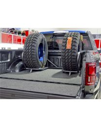 N-FAB - Bed Mounted Tire Carrier; Gloss Black; Holds Up To 2 Tires; Incl. 2 Tire Straps; - F1825CCBC