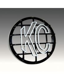 "KC Hilites - 8"" Stone Guard - KC #7214 (Black with White KC Logo) - 7214"