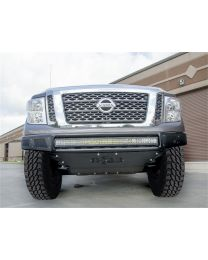 N-FAB - Mrds Front Bumper; Textured Black; Pre-runner Radius Style; W/brushed Aluminum Skid Plate; - N161MRDS-TX