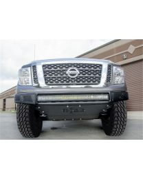 N-FAB - Mrds Front Bumper; Gloss Black; Pre-runner Radius Style; W/brushed Aluminum Skid Plate; - N161MRDS