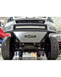 N-FAB - Mrds Front Bumper; Textured Black; Pre-runner Radius Style; W/brushed Aluminum Skid Plate; - G151MRDS-TX